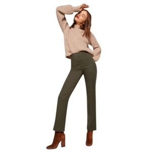 Reformation High Waist Will Pant in Olive Green